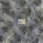 Rosette Floral Soft Minky Fabric Grey