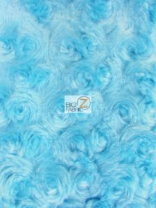 Rosette Floral Soft Minky Fabric Turquoise