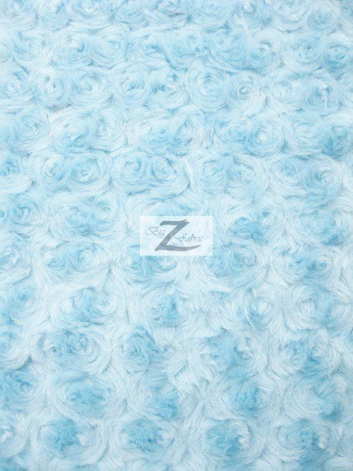 Baby Blue Rosette Floral Soft Minky Fabric