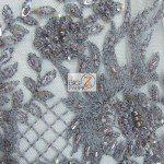 Gray Low Price Sequins Beaded On Mesh Fabric