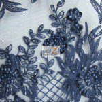 Navy Blue Low Price Sequins Beaded On Mesh Fabric