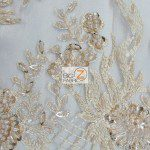 Peach Low Price Sequins Beaded On Mesh Fabric