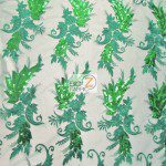 Low Price Angel Floral Sequins Fabric Green