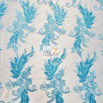 Low Price Angel Floral Sequins Fabric Turquoise