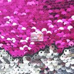 Low Price Reversible Mermaid Sequins Fabric Fuchsia/Silver