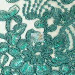 Anastasia Floral Sequins Lace Fabric Green