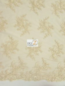Gorgeous Floral Embroidery Bridal Dress Lace Fabric Champagne
