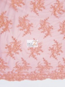 Gorgeous Floral Embroidery Bridal Dress Lace Fabric Coral